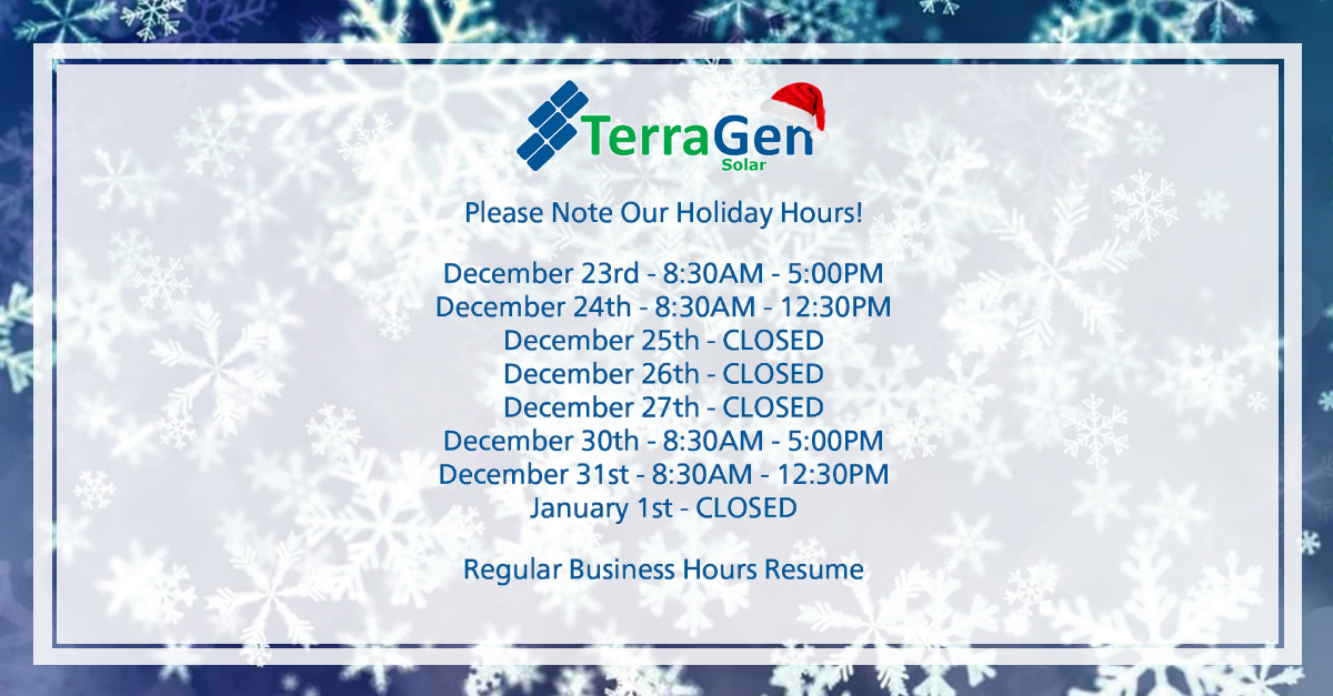 TerraGen Solar Holiday Hours!