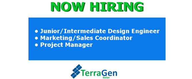 Now Hiring for TerraGen Solar (TG)
